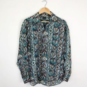 Vintage 100% Silk Tribal Print Blouse